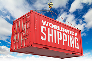 Worldwide service - Red Hanging Cargo Container.